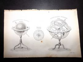 Goldsmith C1860 Antique Print. Artificial Globe, Armillary Sphere. Astronomy